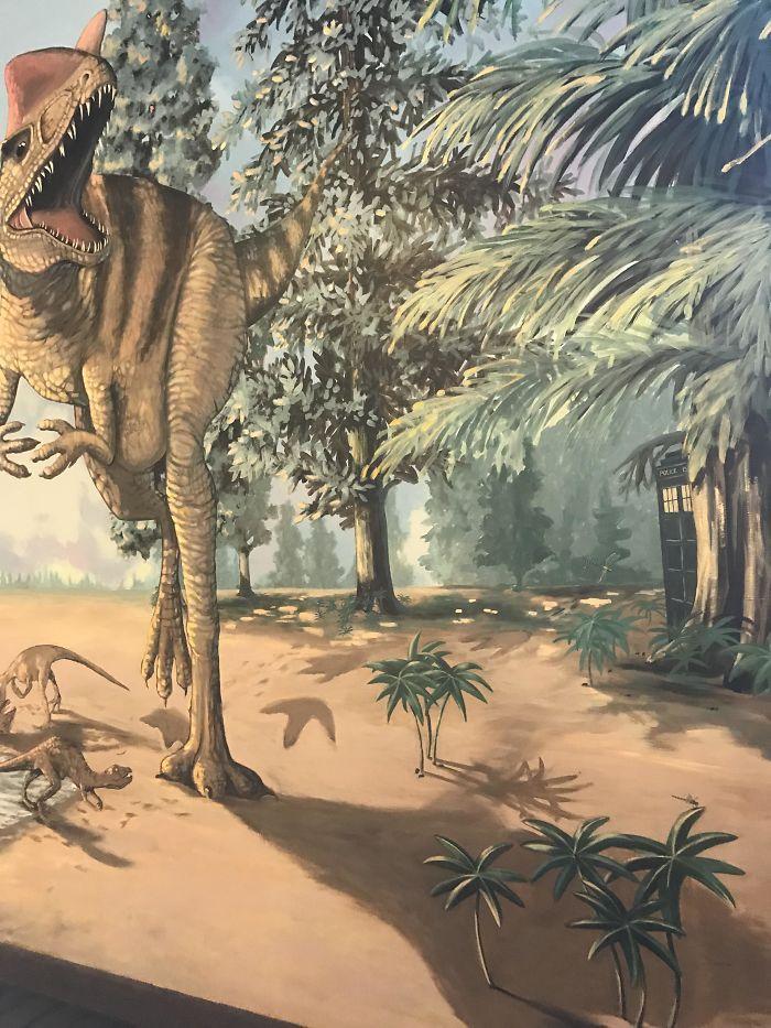The Tardis On This Dinosaur Museum's Wall Mural