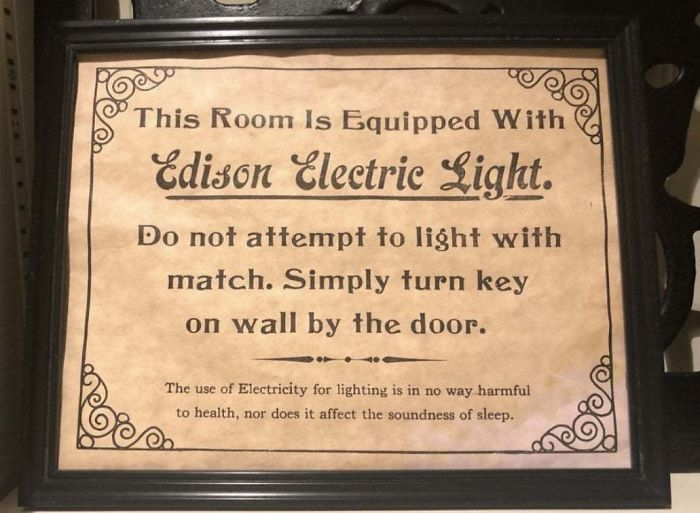 This Historic Sign In My Hotel Explains How To Use Electricity In Case You Had Never Used It Before