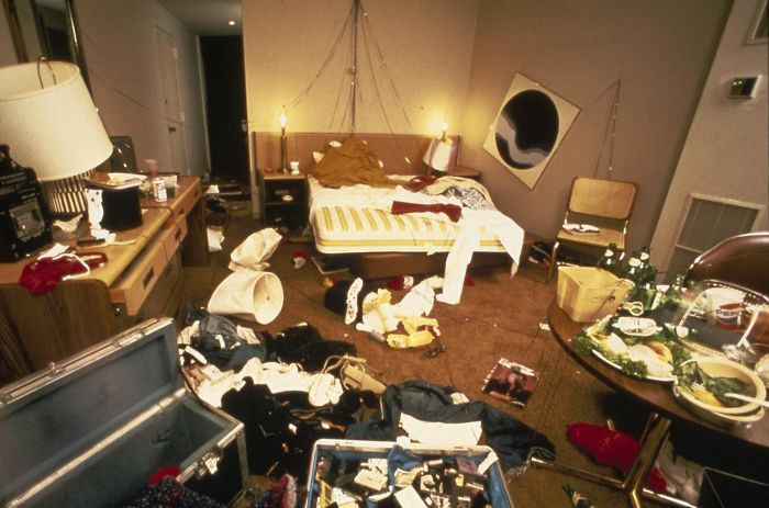 David Lee Roth's Hotel Room During The 1982 Van Halen Tour