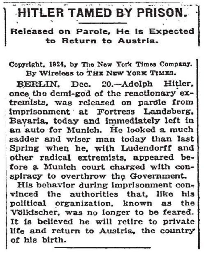 Hitler Tamed By Prison (New York Times, 1924)