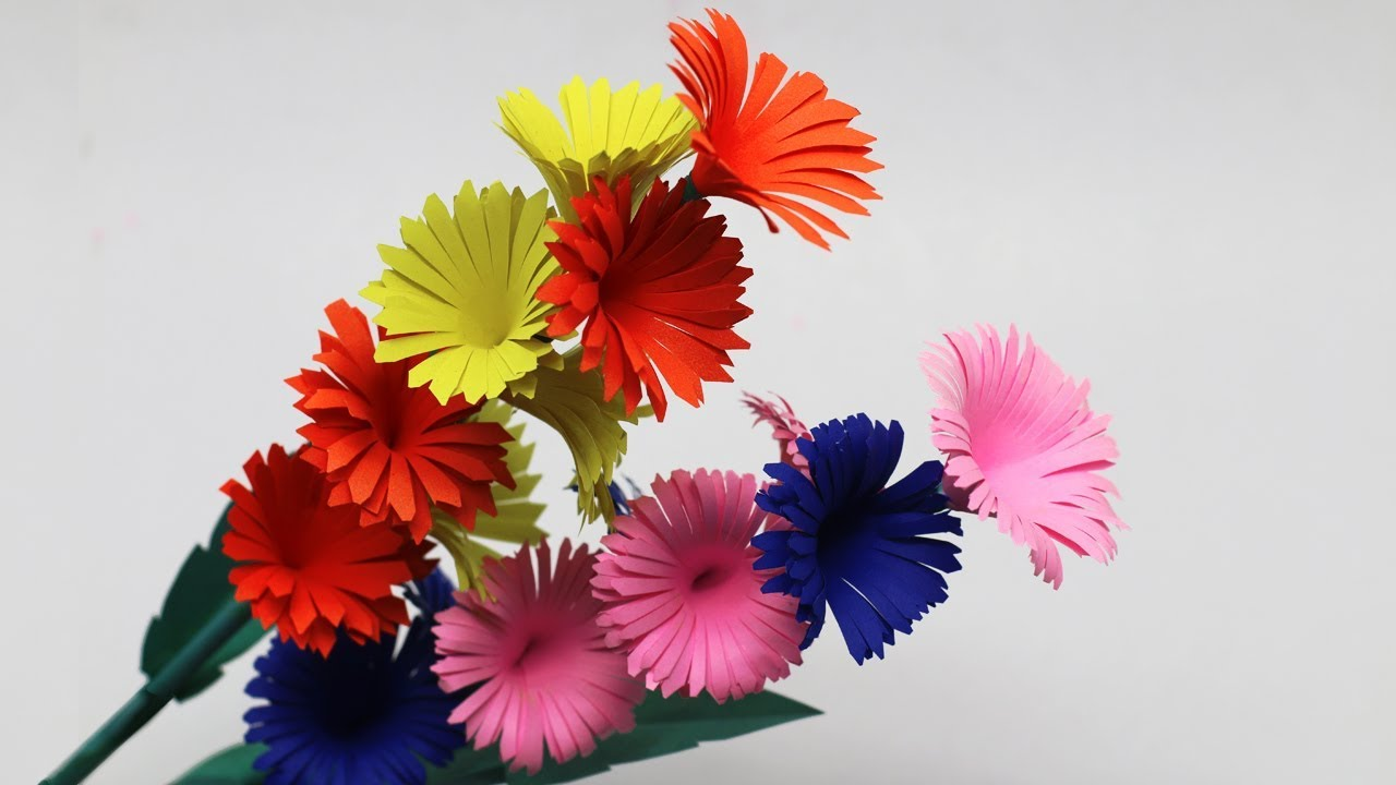 How To Make Easy DIY Paper Stick Flower From Paper-Stick Flowers Step By Step-Stick Flowers Ideas