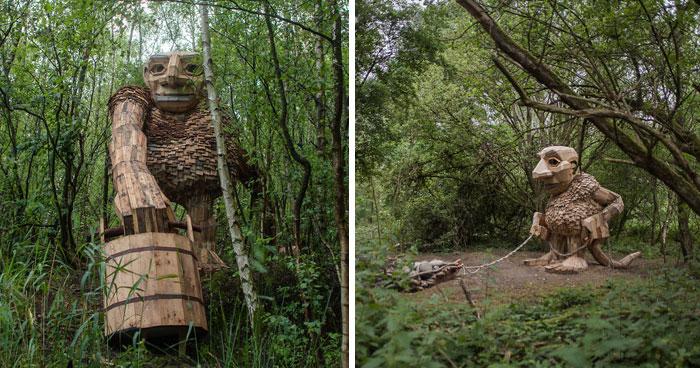 Hago gigantes de madera y los escondo en los bosques de Bélgica
