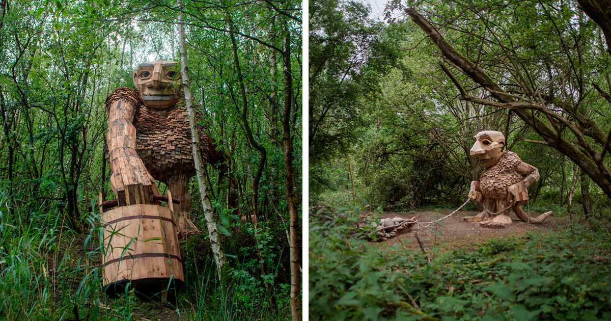 I Hide Giants That I Make From Wood In The Wilderness Of Belgian Forest