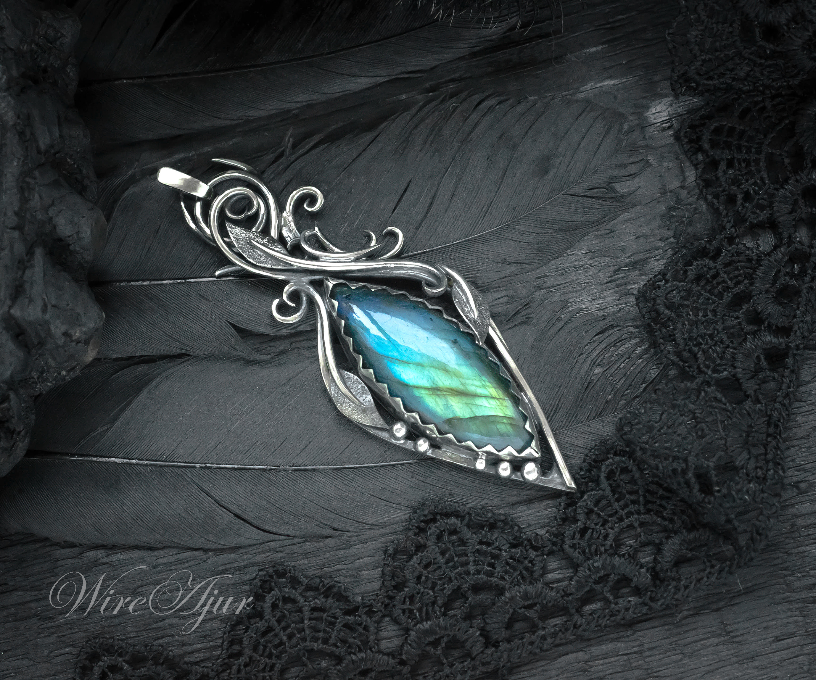 The Stunning Pendant In An Elven Floral Style With A Bright Labradorite