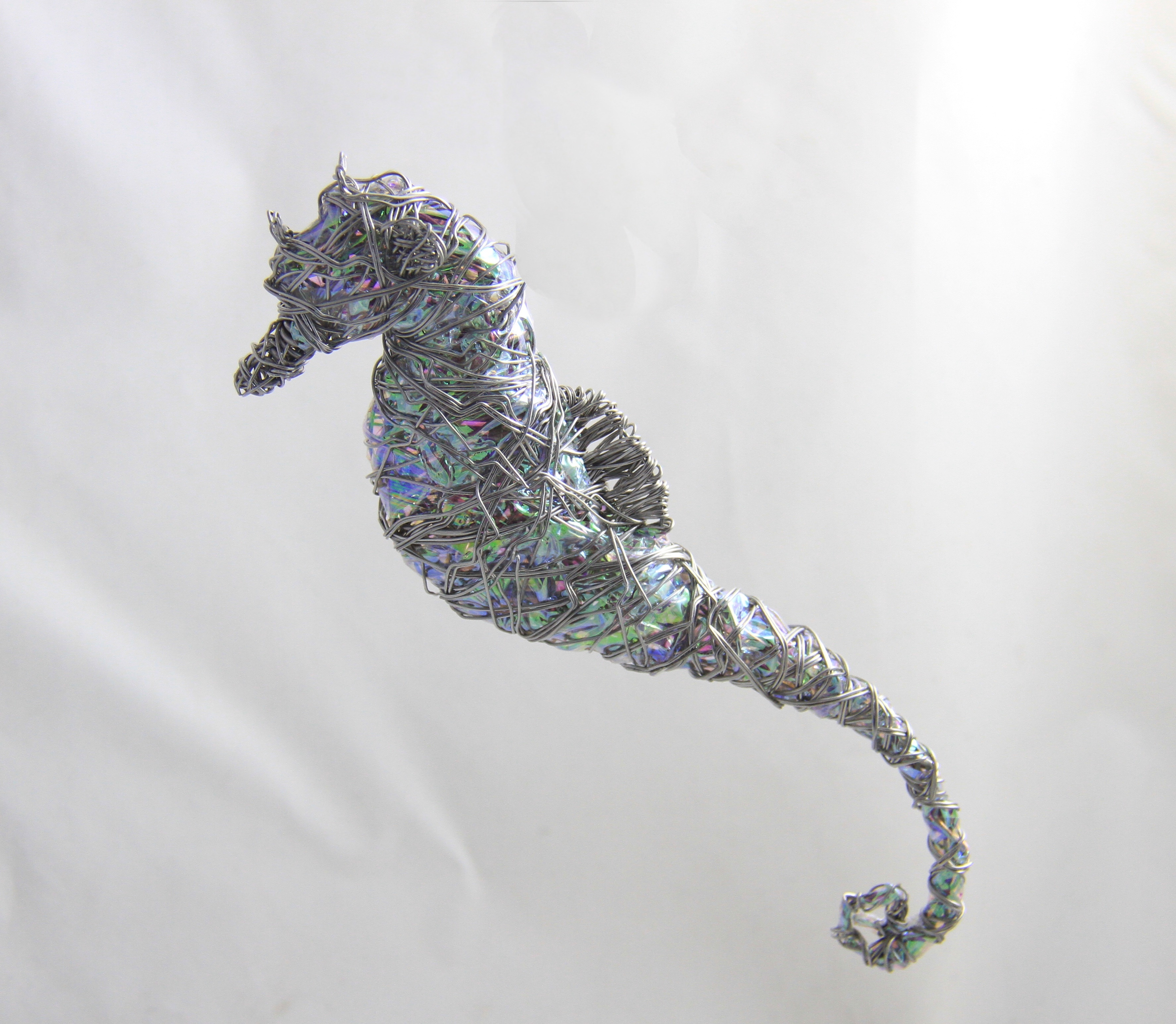 I Made This Seahorse From Wire And A Reflective Film.