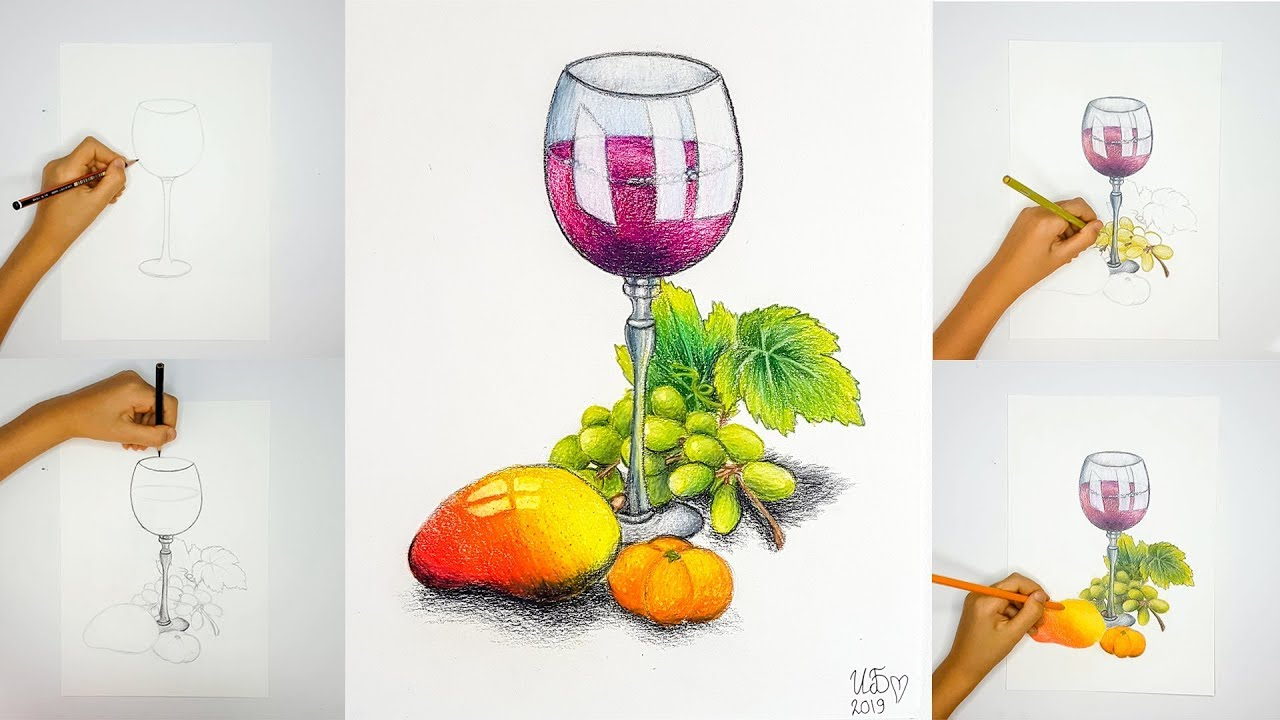 Video Tutorial How To Draw A Glass Of Wine With Fruit & Leaves.