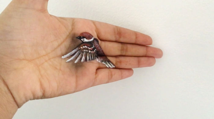 New- I Create 3D Paintings On My Left Hand