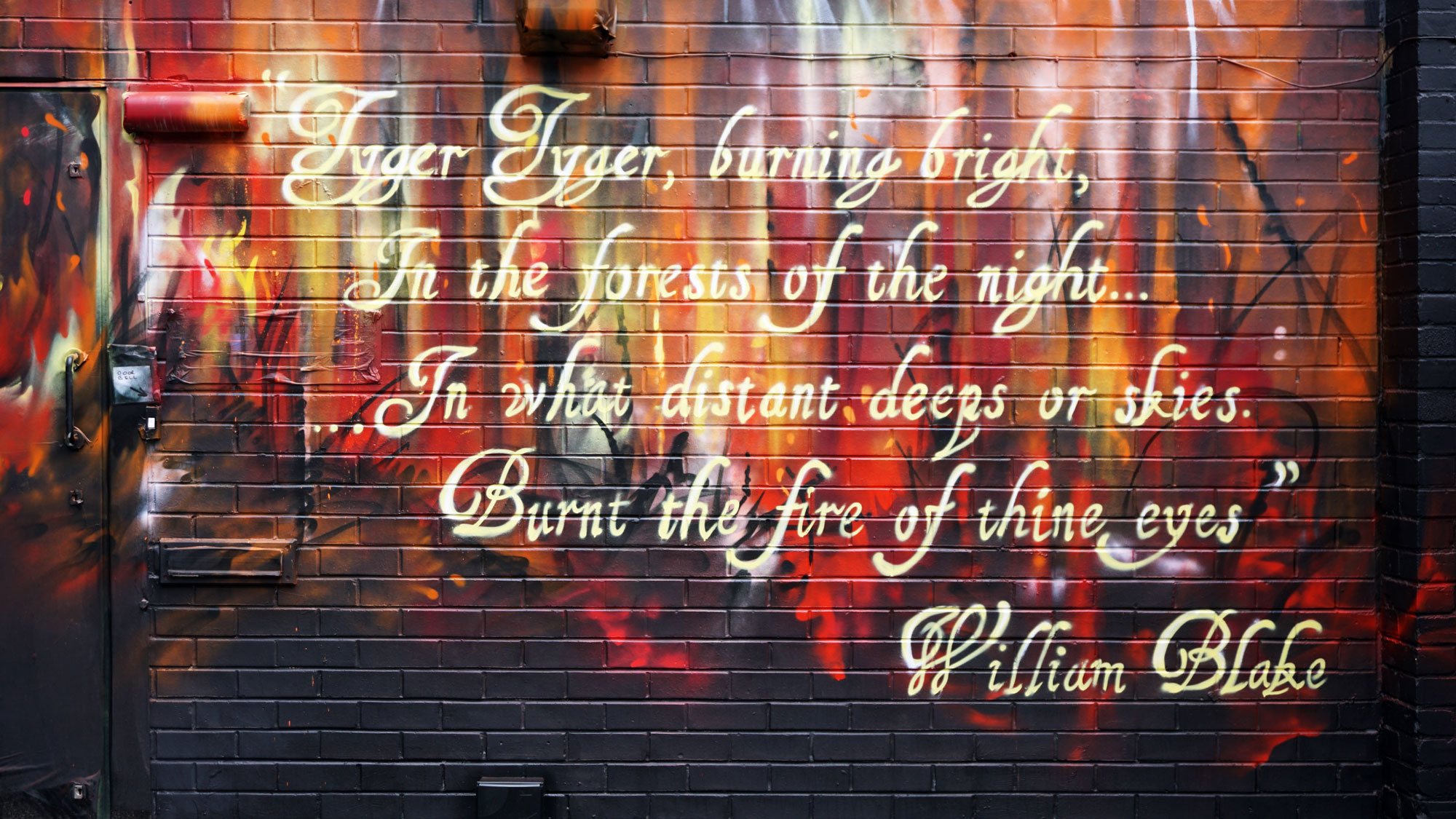 Powerful 'Tyger Tyger Burning Bright' Large Scale Street Art Mural Painted By Jim Vision In Manchester: A Visual Comment On Humanity And The Fierce Power Of The Human Soul