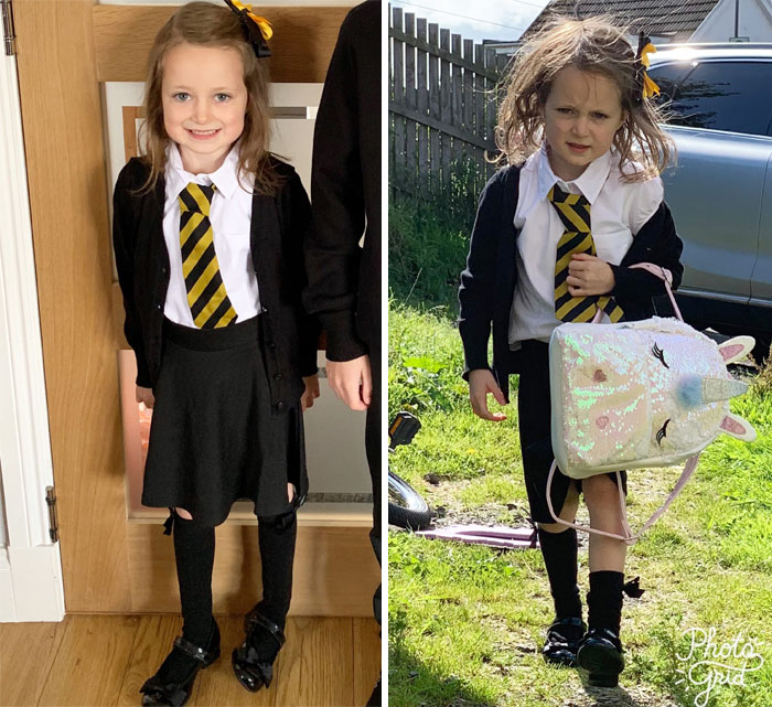 First Day Back At School Took Its Toll On This Little Girl