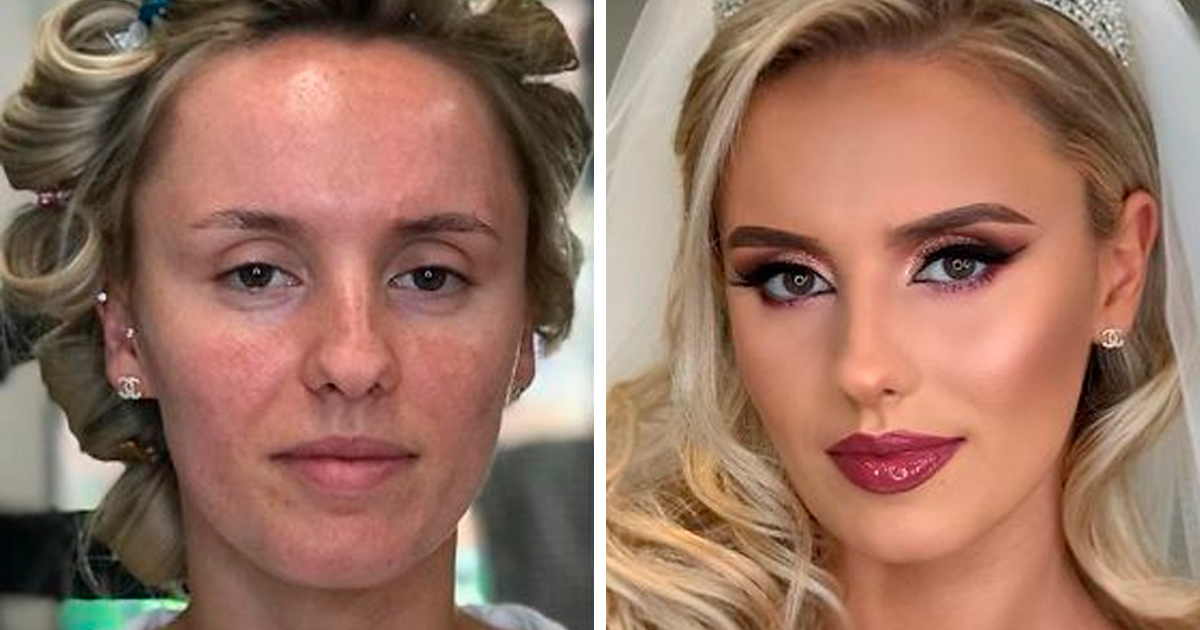 23 Photos Taken Before And After Brides Got Their Wedding Makeup (New Pics)
