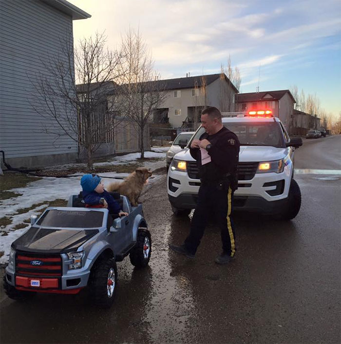 An Officer Saw A Toddler Driving His Truck, Pull Him Over & Gave Him His First Ticket. Fort McMurray, Canada