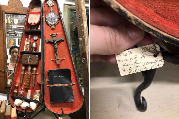 I Found This Last Week And It's Definitely My Favorite Thing I've Seen At An Antique Or Thrift Store. Introducing The Violin Vampire Killing Kit!