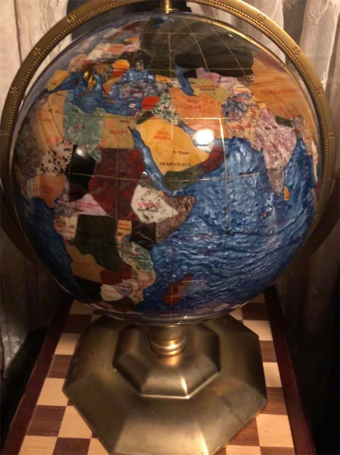 """I Rescued This Incredible Globe From The Trash, It's About 20"""" Tall And Handcrafted With Semi-Precious Stones And A Brass Base. Not Really That Weird But Definitely Second Hand And Pretty Unusual"""