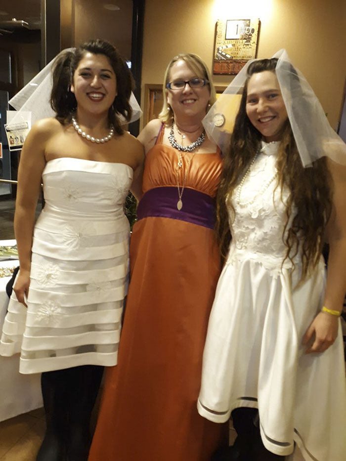My Best Friend And I Wore Thrift Store Wedding Dresses To A Showing Of Bridesmaids. After The Show, This Woman Stopped Us. She Was The Original Owner Of Our Dresses. Both Dresses!!!
