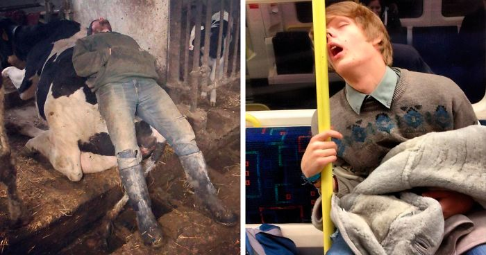 73 People Caught Napping In Funny And Uncomfortable-Looking Ways