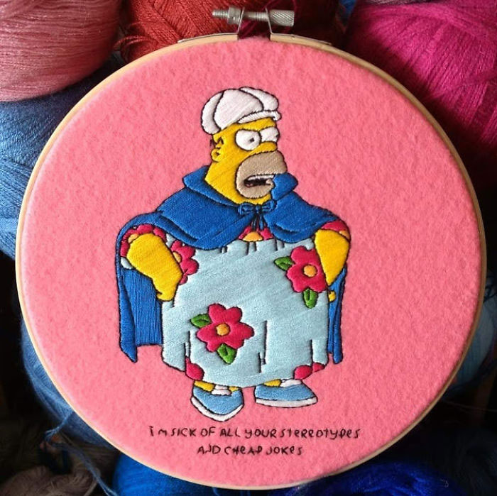 My 13 Scenes From The Simpsons Recreated With Embroidery