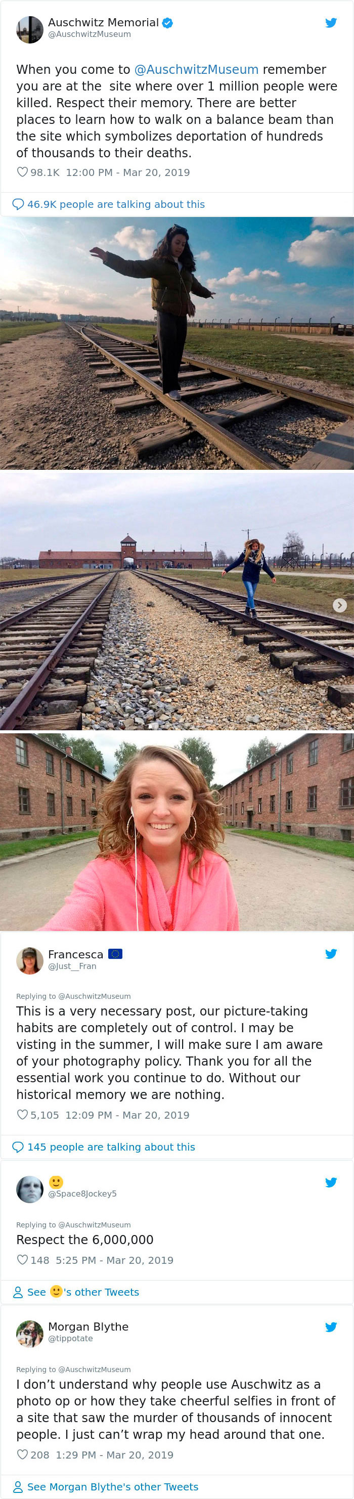 When You Come To Auschwitz Museum Remember You Are At The Site Where Over 1 Million People Were Killed. Respect Their Memory. There Are Better Places To Learn How To Walk On A Balance Beam Than The Site Which Symbolizes Deportation Of Hundreds Of Thousands To Their Deaths
