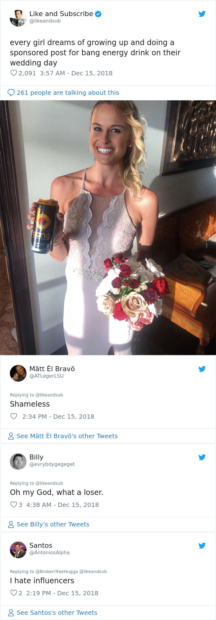Every Girl Dreams Of Growing Up And Doing A Sponsored Post For Bang Energy Drink On Their Wedding Day