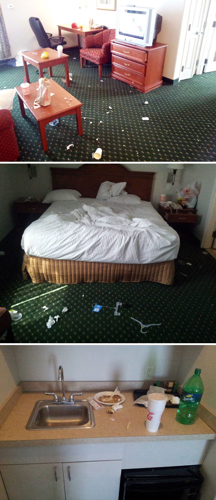 This Is The Room Of A Hotel Guest That Stayed For 3 Days. No Pets, No Kids. Just One Dude With A Mission To Be Disgusting