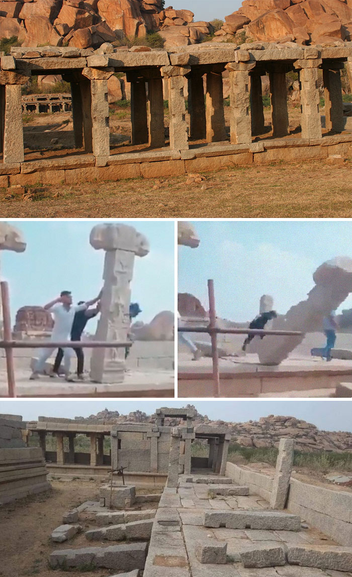 People Allegedly Destroying Stone Pillars At Hampi
