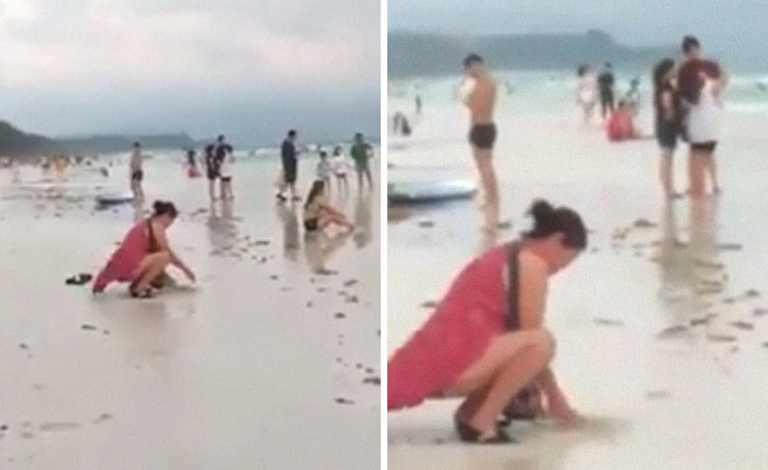Tourist Spotted Burying Used Diaper In The Sand On Boracay Beach