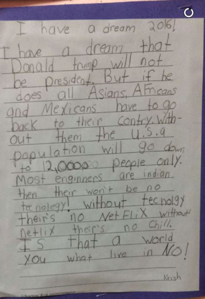 Kid Opposes Trump's Policies; Just Wants To Netflix And Chill