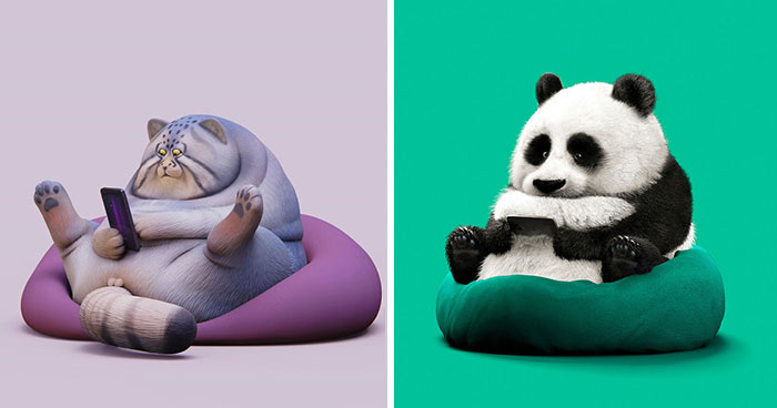 Chinese Artist Creates 20 Pics Of Slothful Animals To Parody How Lazy This Generation Is Becoming
