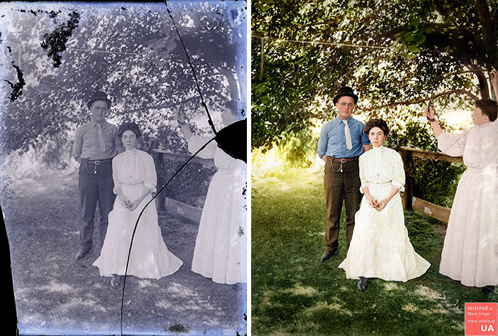 """Texas Couple, Ca 1900, One Of The Hardest Restorations And Colorizations I Did So Far. Working Time, About 15 Hours"""