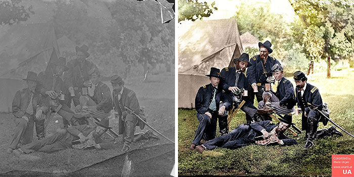 Westover Landing, Virginia. Officers Of 3rd And 4th Pennsylvania Cavalry Illustrating The Hardships Of War. 1862