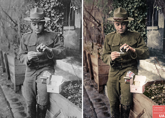 American Soldier Opening Red Cross Christmas Box, 1917