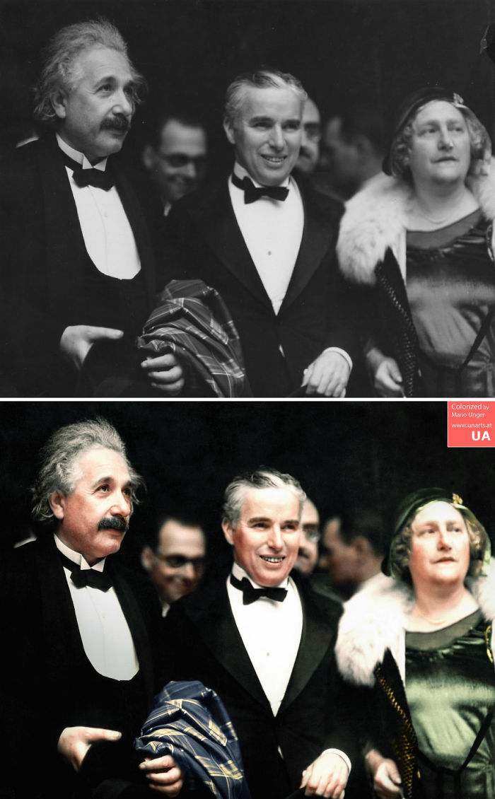 "Albert Einstein, His Wife Elsa And Charlie Chaplin At The Premiere Of ""City Lights"" In Los Angeles, 1931"