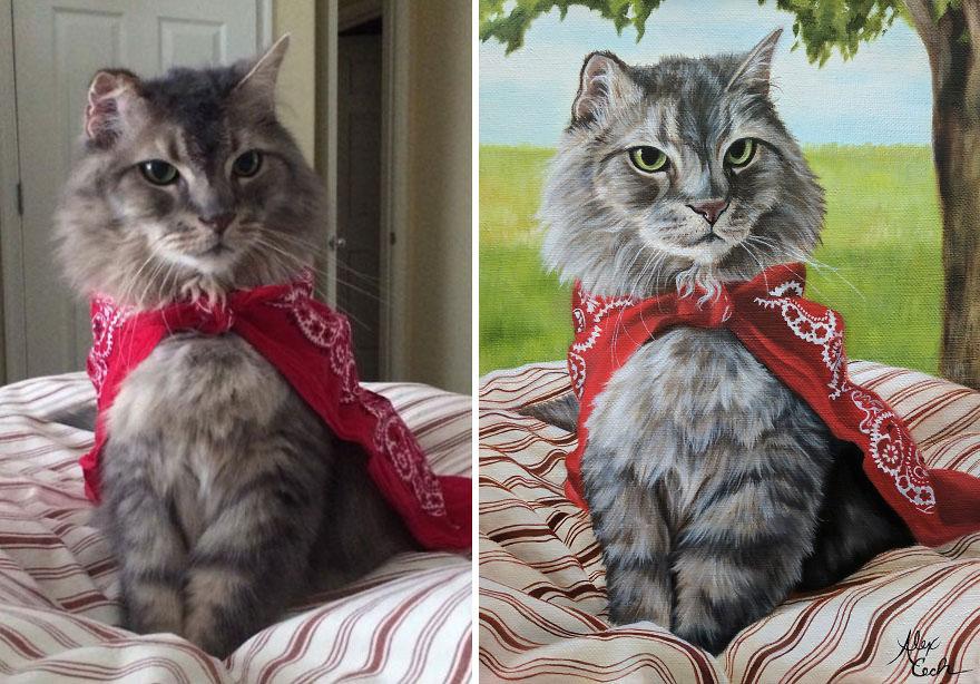gato de estimação Huey Lewis, Oil On Linen, 9x12