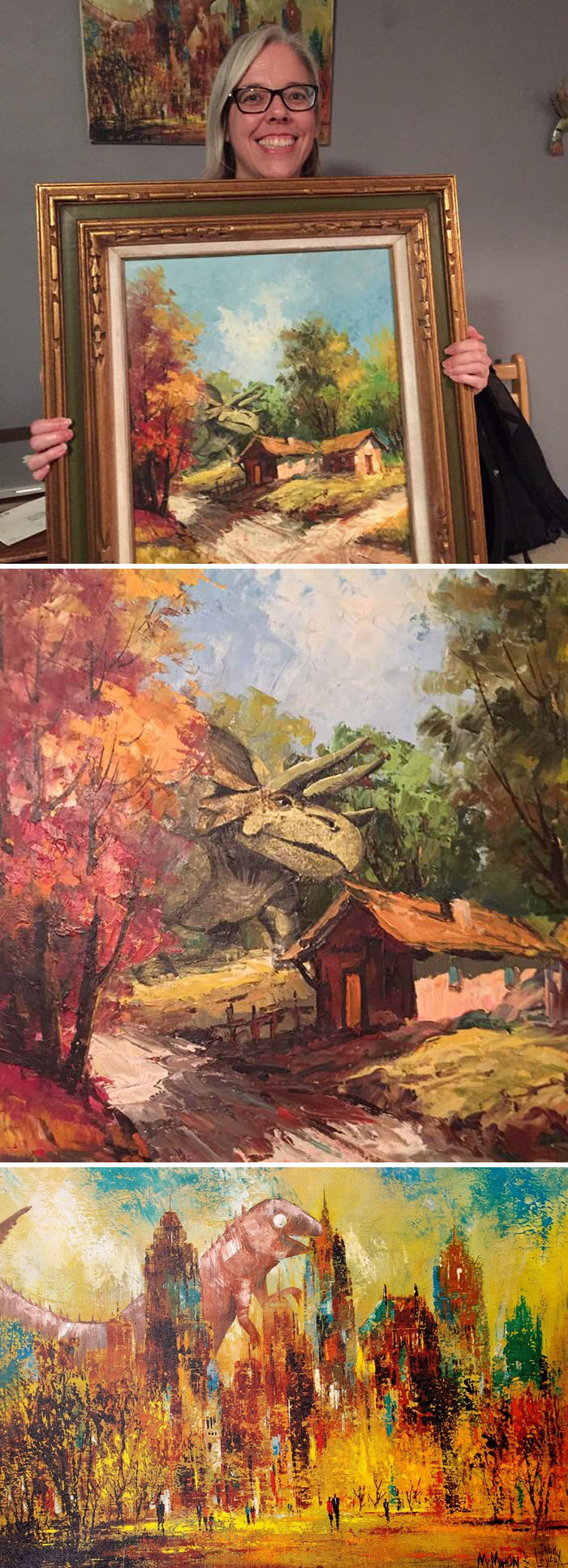Thrift Store Painting To Which Someone Had Added A Dinosaur