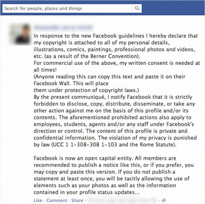 Those Shareable Facebook Posts Saying You Are Legally Proclaiming That Facebook Can't Use Your Personal Information