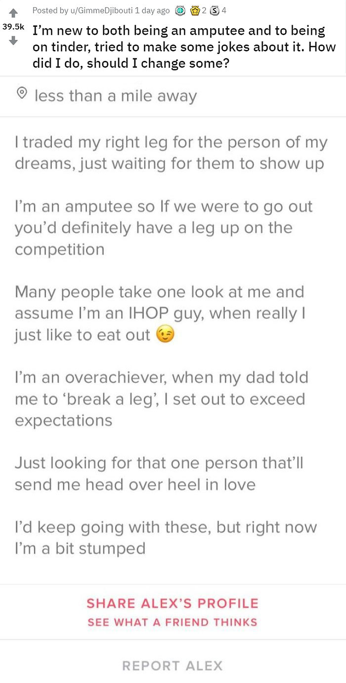 12 Funny Tinder Bios From Amputees Who Did Not Lose Their