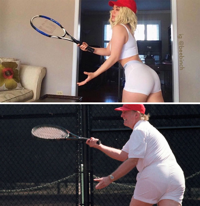 Donald Trump Playing Tennis