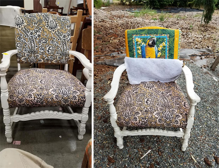 Fell In Love With This Cute Chair Today. Totally Nothing Weird About It. Until The First Layer Of Fabric Came Off