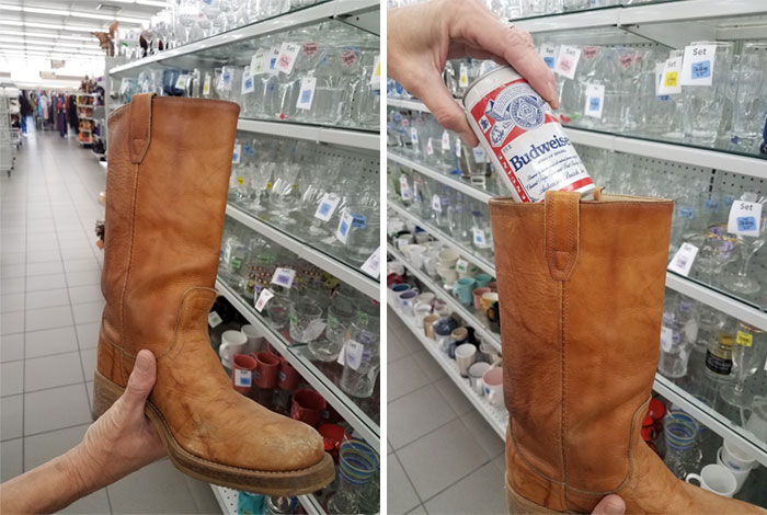 It's Really Sweet When You Find A Pair Of Frye Boots At Your Local Goodwill But It's Even Better When There's A Can Of Unopened Beer In One Of Them. Icing On The Cake Is When The Beer Is Dated 1986