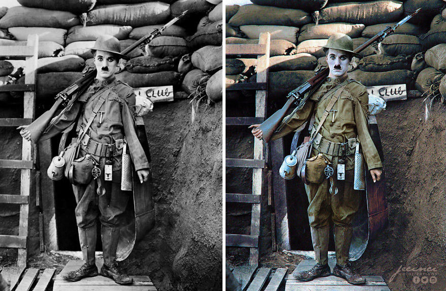 """Charlie Chaplin In """"Shoulder Arms"""", 1918"""
