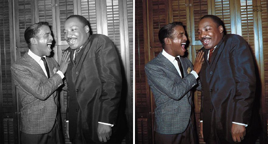 Martin Luther King Jr. And Entertainer Sammy Davis Jr. Share A Laugh In Davis' Dressing Room At New York's Majestic Theater In 1965