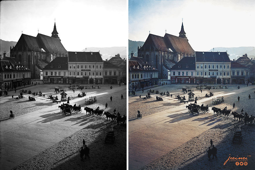 Main Square In Brasov's Old Town Centre, Romania, Early 20th Century