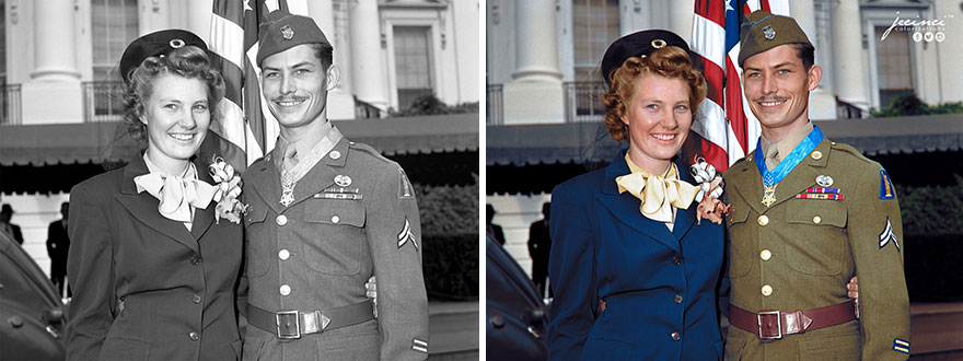Desmond Thomas Doss (Hacksaw Ridge) & His Wife Dorothy, After Receiving The Medal Of Honor From President Harry Truman, October 12, 1945