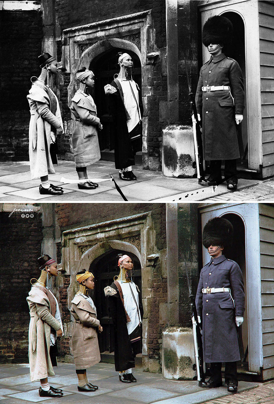 Giraffe Women Looking At A Guard, Posted At St. James's Palace 16th Century Main Gate, During Their Visit In London, 1935