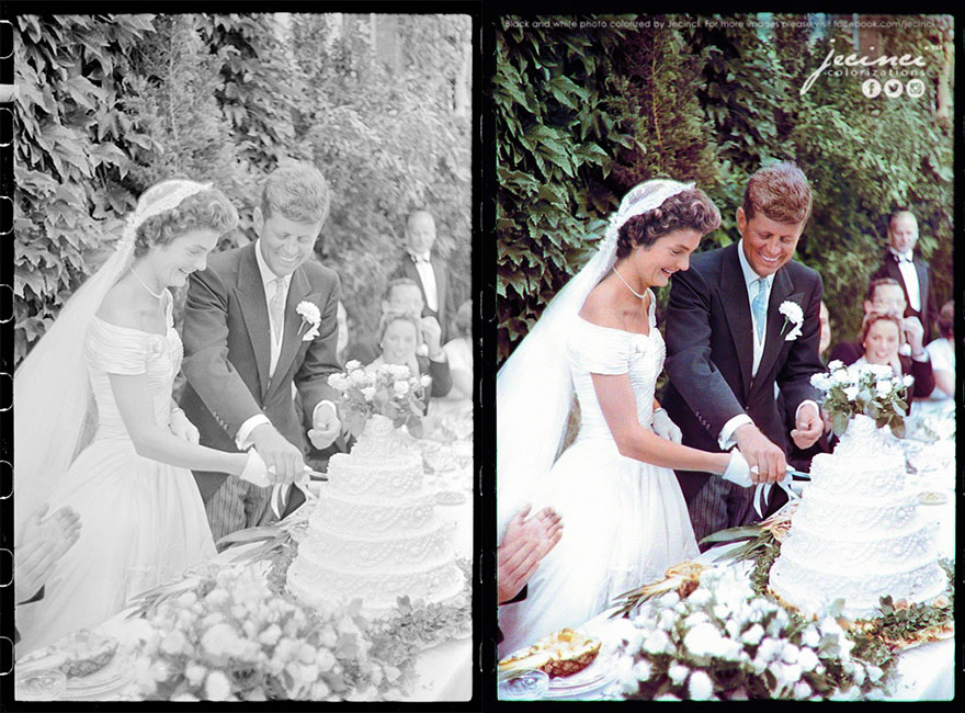 Jackie Bouvier Kennedy And John F. Kennedy Cutting The Cake At Their Wedding, September 12, 1953, Newport, Rhode Island
