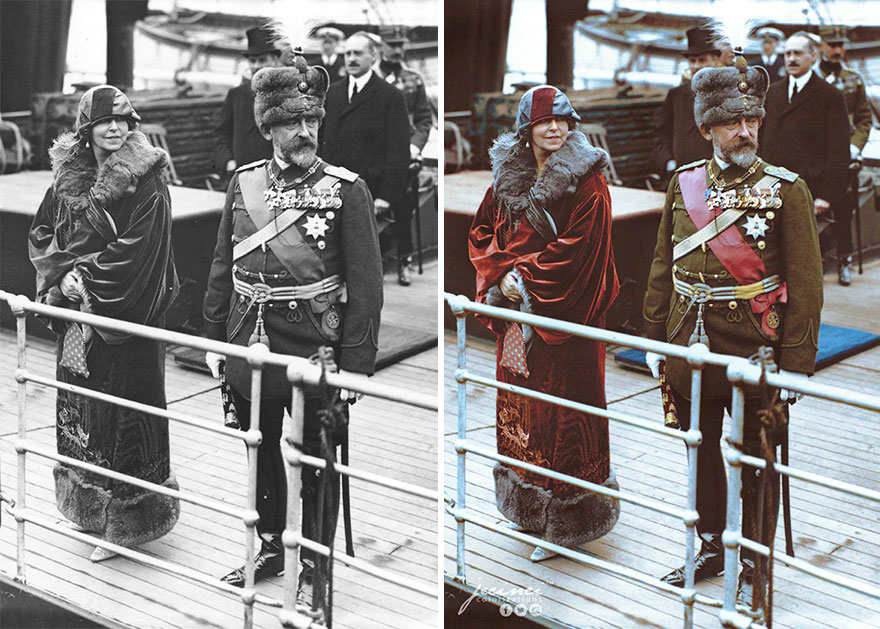 King Ferdinand And Queen Marie Of Romania Arriving At Dover, UK, For A State Visit, 12 May 1924