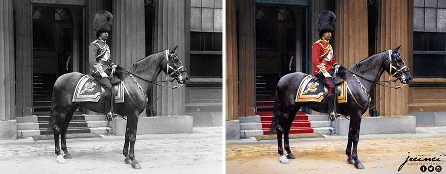 King George V On Horseback At Buckingham Palace In 1914