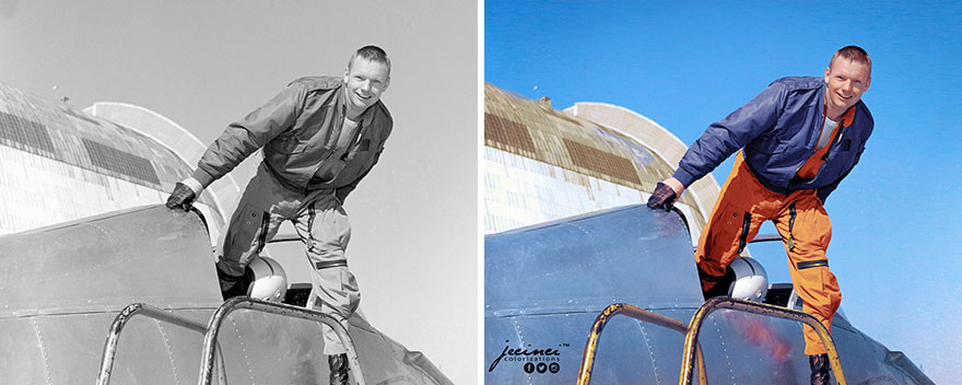 Neil Armstrong, Nasa Research Test Pilot, With The Bell X-14 At Nasa Ames Research Center, February, 1964