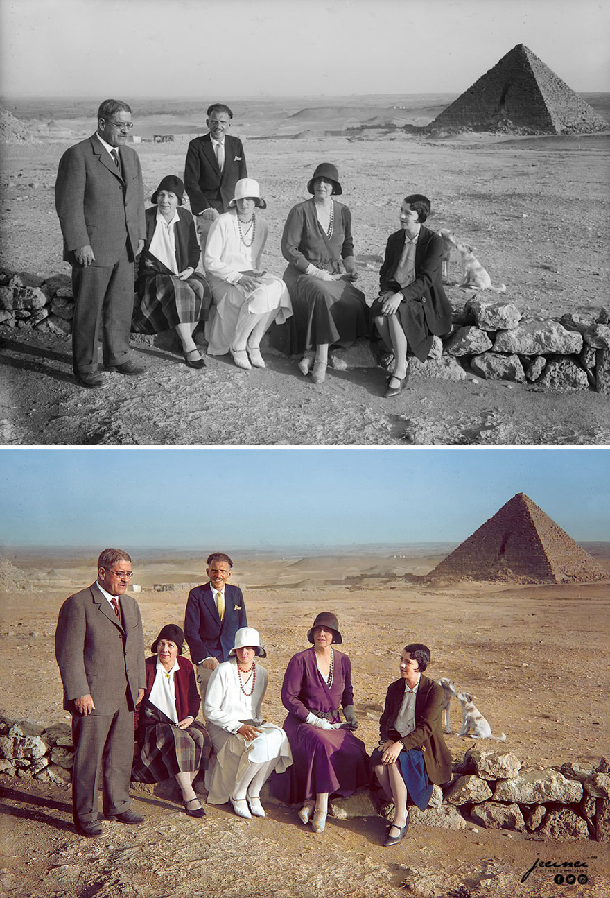 Queen Marie Of Romania Visiting The Pyramids Of Giza, Cairo, Egypt, 1930