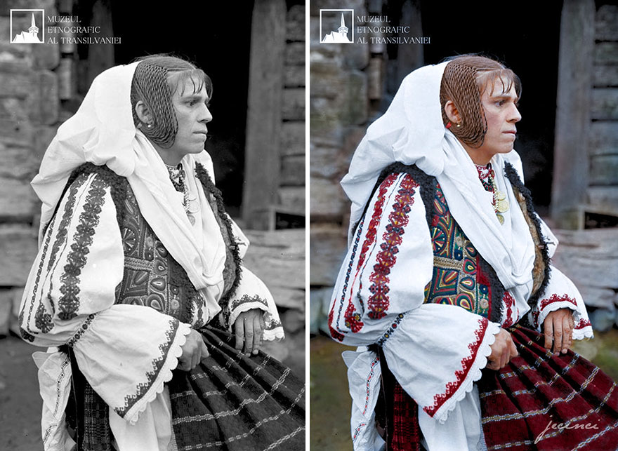 Romanian Woman In Traditional Costume From The Early 20th Century