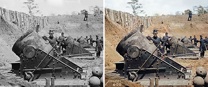 US Civil War – 13 Inch Mortars – Ca. May 1862, Yorktown, Virginia. Battery No. 4, 1st Connecticut Heavy Artillery, South End